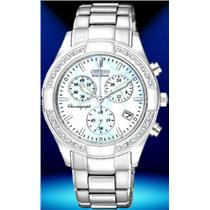 Citizen FB1220-53D.Bling. 26 Diamond Accents. Chronograph.Eco-Drive.Mop Dial.Stainless Case/Bracelet