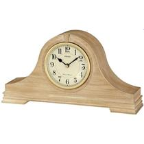 Seiko QXJ019BLH. Oak Dual Chiming Mantel Clock. Tambour Shape. Cream Dial.