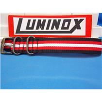 Luminox Watch Band.Regimental Stripe. Black Red White 23mm w/ Gun Metal Hardware