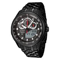Citizen Mens JW0097 -54E. Eco-Drive Promaster. Black Stainless Steel Bracelet. Black Dial Watch.