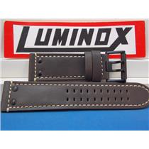 Luminox Watch Band 1880 series, Brown Leather with White Stitching and Black Steel Buckle/Rivets, 26