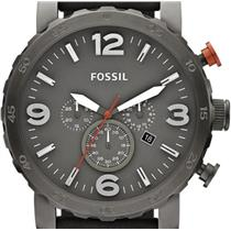"""Fossil JR1419. Rugged """"Nate"""". Military Gunmetal Grey Dial-Case.Grey Leather Band.Chronograph Movemen"""