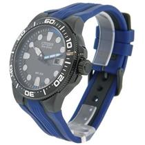 Citizen Men's BN0097-02H. Solar Powered Eco-Drive Scuba Fin Diver's Watch. Black- Blue Polyurethane