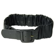 S/33 Authentic NWT Hobo International Cinch Ruffle Ruched Leather Belt Black HOT