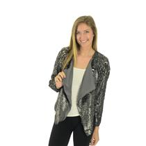 Sz XS NEW Free People Drippy Sequined Party Jacket Silver/Grey Draped Open Front