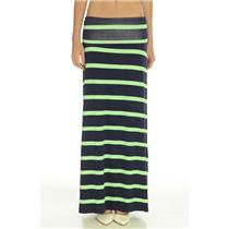 New! S HIHO Caribbean Wear Navy Green Stripe Jersey  Maxi Skirt Foldover Waist