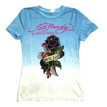 XL NWT Ed Hardy Girls Blue Rhinestone Rose Love Life Graphic T Shirt Koi Fish