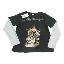 10 NWT Ed Hardy Boys Black New York Skull Eagle Graphic LS T Shirt S8K293-R