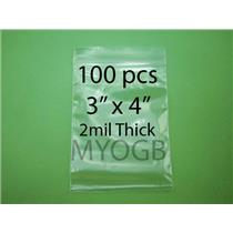 "100pcs 3"" x 4"" Zip Lock Plastic Bags-Storage-Jewerly-Parts-Gold Nuggets"