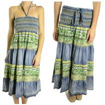 Size M Zashi Stretch Smocked Babydoll Denim Green Floral Tiered Maxi Skirt/Dress