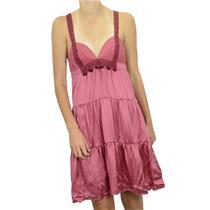 S NWT Ingwa Melero Chiffon/Charmeuse Silk Lace Empire Moon Dress Ruby Pink/Red
