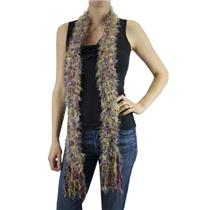 "Hand Knit Skinny Scarf High-End Boutique Magenta Multi-Colored Fun Fur Yarn 60"""