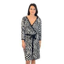 NWT S Karen Kane Sweet Dream Black/White Zebra Print Wrap Dress W/ Matching Belt