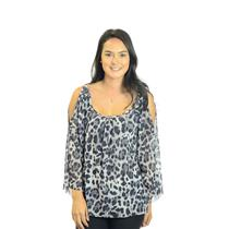 M Sweet Pea Black/White & Gray Leopard Cold Shoulder Draped Fit Mesh Top
