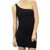 Size S Aqua Little Black Dress One Shoulder Stretch Jersey Asymmetrical Seams