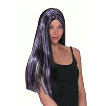"25"" Black and Purple Striped Witch Wig"