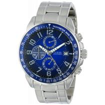 GUESS Men's U15072G2. Sporty.Gold Tone Bracelet.Chronograph.Round Blue Dial.100M Resist.