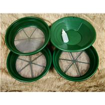 "3 Large Screens 1/8-1/12-1/20"" Classifiers-Sifting +14"" Green Gold Pan & Snuffer"