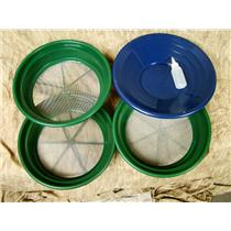 """3 Large Screens 1/12-1/20-1/30""""Classifiers-Sifting +14"""" Blue Gold Pan & Snuffer"""