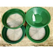 """3 Large Screens 1/20-1/30-1/50""""Classifiers-Sifting +14"""" Green Gold Pan & Snuffer"""