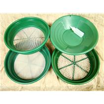 """3 Large Screens 1/2-1/12-1/50""""Classifiers-Sifting +14"""" Green Gold Pan & Snuffer"""