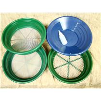 """3 Large Screens 1/2-1/12-1/50""""Classifiers-Sifting +14"""" Blue Gold Pan & Snuffer"""