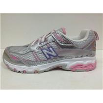 New Balance 686 Shoes Youth Kids Size 2 Pink Silver Purple NIB WIDE