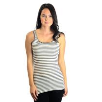 M Lucky Brand Scoop Neck SOFT Viscose White Tank w/Thin Navy Blue Stripes