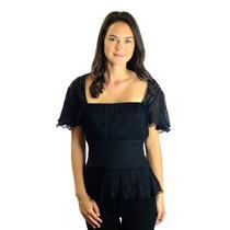 NWT Tadashi Collection Black Beaded Silk Chiffon Flutter Sleeve Blouse Empire