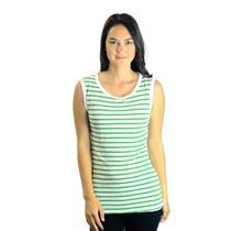 OS Michael Stars Crew Neck Bright Green & White Striped Tank Top Style G5708