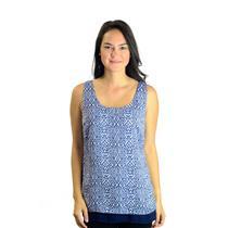Size S Kenar Blue Ikat Print Dual Layered 100% Polyester Chiffon SOFT Tank Top