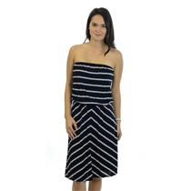 One Size Michael Stars Black and White Chevron Striped Strapless Jersey Dress