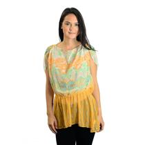 XS Free People Orange Chiffon Low Back Floral Printed Elastic Waist Blouse/Top