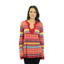 Size 1 Michael Stars Multi Colored Striped V-neck Tunic Light Knit Sweater SH347