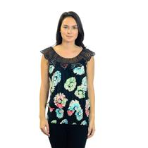 S ANTHROPOLOGIE Ric Rac Black Sleeveless Floral Print Top w/Crochet Neckline