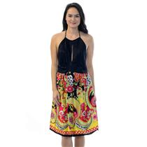 S NOM  Maternity 100% Silk Bright Multi Colored Dress w/Keyhole Top Ties At Neck