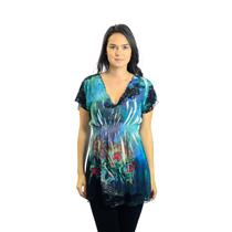 S Mushka By Sienna Rose Blue Painted Short Sleeve Gathered Waist Top With Lace