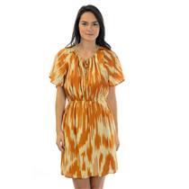 Sz 2 J. Crew 100% Silk Burnt Orange/Ivory Flutter Sleeve Tie Neck Line Dress