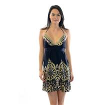 Sz XS Alice & Trixie Black Silk Empire Waist Halter Dress w/Geometric Print