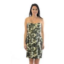 Sz 2 J. Crew Strapless Silk Ivory Olive Green Printed Strapless Dress w/ Pockets