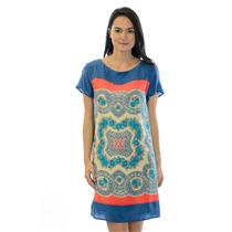 XS Anthropologie Meadow Rue Silk Blue & Red Calcada Short Sleeve Shift Dress