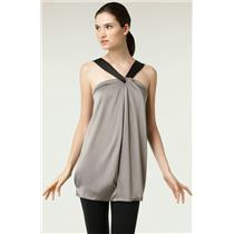 S Vince Metallic Gray Silk Halter  Mini Dress/Tunic Black Strap Elastic Back