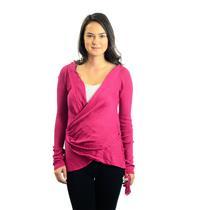 NWT Sz M Indah Fuchsia Pink Lumba Wrap Front Knit Cardigan Shell Charm Sweater