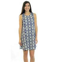 S Native Youth Kaleidoscope Tent Dress Blue/White/Gray Tribal Print Sleeveless