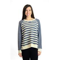"NEW! L MOTHER ""Slit Hem Square"" Ivory & Blue Crew Neck Sweater Top 8162-306"