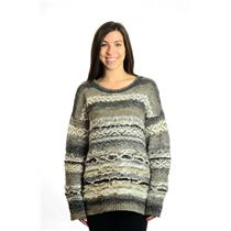 New S Artisan de Luxe Emily Gray & White Long Sleeve Crew Neck Pullover Sweater