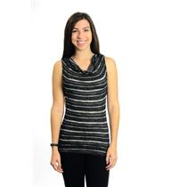 OS Michael Stars Black & Metallic Silver Striped Sleeveless Sheer Knit Tunic Top