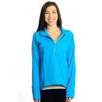 NWT L Bolle Tennis Wear High Performance Bright Blue Long Sleeve Half Zip Jacket