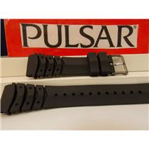 Pulsar Watch Band PW3003 20mm Black Resin Divers Style Strap. Watchband.