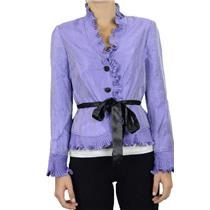 8 NWT Adrianna Papell Lilac Purple Ruffle Pleat Trim Ribbon Belt Evening Blouse